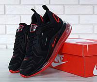Кроссовки мужские в стиле Nike Air Max 720 код товара KD-11656. Черные с красным