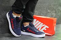 Кроссовки мужские в стиле Nike Supreme, резина, текстиль код SD1-7021. Синие с красным