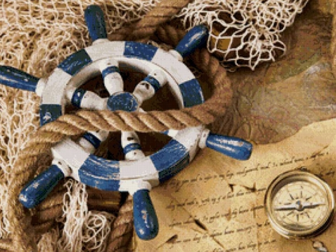 Алмазная мозаика Капитанский штурвал 40x30см DM-049 Полная зашивка. Набор алмазной вышивки