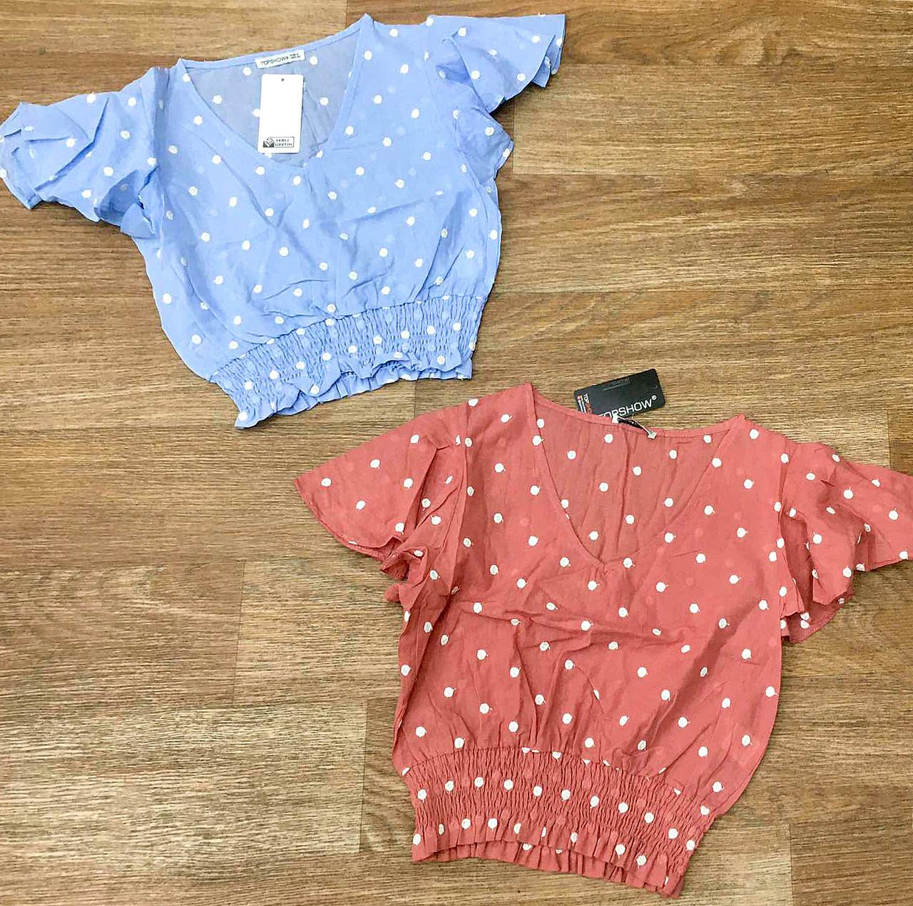 Стильный женский блузка-топ в горошек 42-48 (в расцветках)