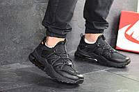 Кроссовки Nike, Найк. Натуральная кожа и сетка. Силиконовые подушки. Код SD-8131. Черные