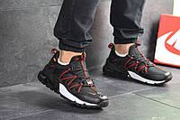 Кроссовки Nike, Найк. Натуральная кожа и сетка. Силиконовые подушки. Код SD-8129. Черные с красным
