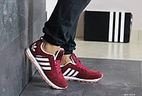 Кроссовки Adidas мужские, в стиле Адидас. Замша натуральная. Код SD-8218. Бордовые