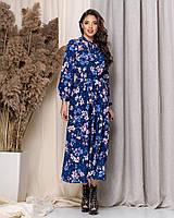 Женское удлиненное платье из софта с воротом-бантом, фото 1