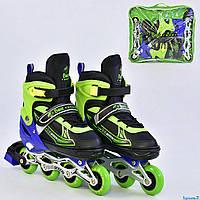 """Ролики Best Roller А 25496 / 08005 """"L"""" размер 38-41, черные с салатовым, фото 1"""
