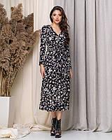 Женское удлиненное платье из софта на поясе, фото 1