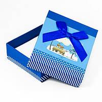 Подарочная Коробочка для Украшений, с Бантиком, со спонжем-губкой, Цвет: Синий, Размеры: 9х7х3см, (УТ100012046)
