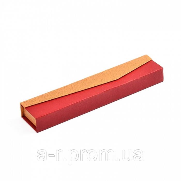 Подарочная Коробочка 22.2x4.6x2.5см, для Ожерелий, с Бумажной Подложкой и Лентой Внутри, Цвет: Красный, (УТ100012416)