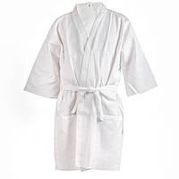 Вафельный халат Luxyart Кимоно L Белый (LS-040) КОД: LS-040
