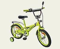 Детский двухколесный велосипед колеса 16 дюймов 171638 со звонком лайм