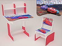 Детская парта школьная растишка со стулом  Тачки (Cars) 108, красная ***