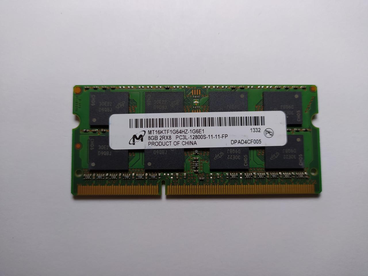 Оперативная память для ноутбука SODIMM Micron DDR3L 8Gb 1600MHz PC3L-12800S (MT16KTF1G64HZ-1G6E1) Б/У