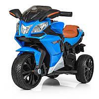 Детский мотоцикл с кожаным сиденьем M 3912EL-4 синий, фото 1