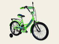 Детский двухколесный велосипед колеса 14 дюймов 191414 Like2bike RALLY со звонком салатовый