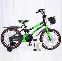 """Детский двухколесный велосипед колеса 18 дюймов """"HAMMER-18"""" S500 Черно-Зеленый"""