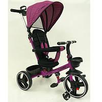 Велосипед-коляска детский трехколесный  Turbo Trike М 5447 PU-8 фуксия лен