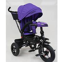 Велосипед трехколесный с ручкой детский Turbo Trike М 5448HA-8, надувные колеса, фиолетовый