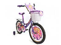 Детский двухколесный велосипед Mustang Принцесса 14 дюймов фиолетовый с корзинкой, фото 1