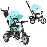 ⏩ Велосипед-коляска детский трехколесный Turbo Trike M 3113А-15 бирюзовый, фото 1