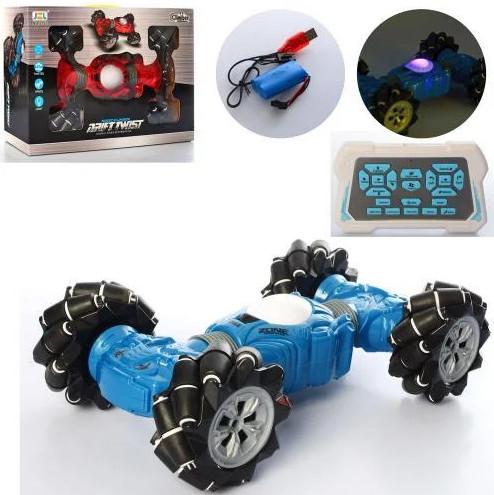 Трюковая машинка перевертыш на радиоуправлении синяя аккумуляторная