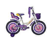 Детский двухколесный велосипед Azimut Girls 16 дюймов фиолетовый