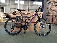 Двухколесный спортивный велосипед Аzimut Blackmount FR/D 26 дюймов черно-красный
