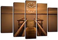 Настенные часы-картина на холсте Декор Карпаты 80x120 см  КОД: chf51