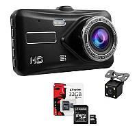 Видеорегистратор DL600 Full HD с камерой заднего вида и сенсорным экраном + карта памяти 32гб КОД: dl_600fhd70