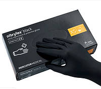Перчатки Nitrylex черные нитриловые нестерильные неприпудренные, 50пар (100шт), размер XS, фото 1