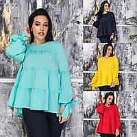 Женская стильная блузка №391 (р. 50-64) в расцветках