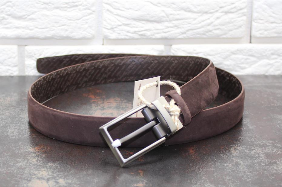 Стильный кожаный ремень Набук  коричневый 3756