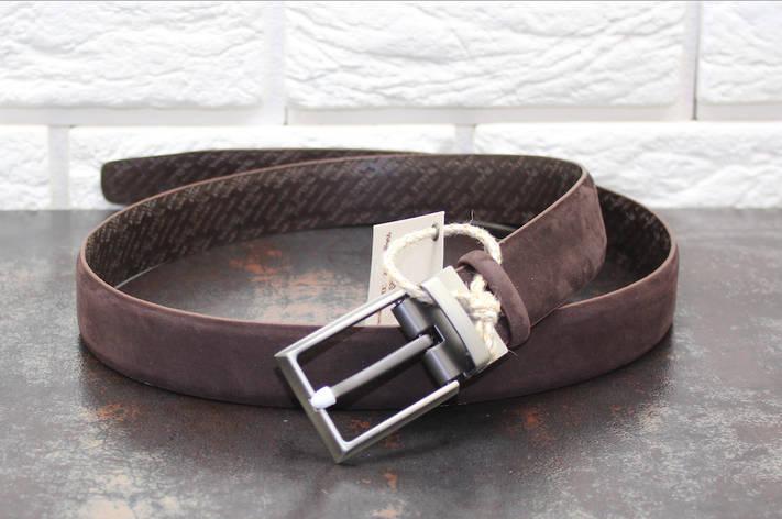 Стильный кожаный ремень Набук  коричневый 3756, фото 2