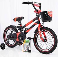 """Детский двухколесный велосипед колеса 16 дюймов """"HAMMER-16"""" S500 Черно-Красный"""