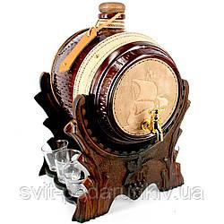 Бочка мини-бар настольный подарочный с рюмками Корабль 486-VA