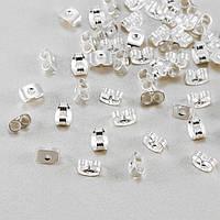 Заглушки для Пусет, Железо, Цвет: Серебро, Размер: 6х4х3мм, Отверстие 0,5мм, (УТ100017769)