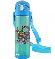 Термос детский с поилкой и шнурком на шею Disney 9030-500 500мл Трансформеры Голубой