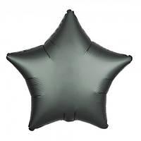 Шарик (45см) Звезда серый матовый