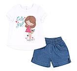 Летний костюм с джинсовыми шортами для девочки. КС625, фото 2