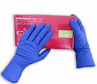 Перчатки AMBULANCE синие латексные повышенной прочности 50шт (25пар), размер S, фото 1