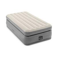 Надувная велюровая кровать Intex 64162 со встроенным электронасосом