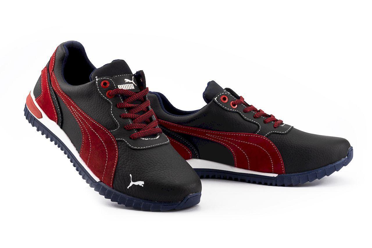 Мужские кроссовки кожаные весна/осень синие-красные CrosSAV 44
