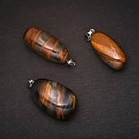 Кулон натуральный камень Тигровый, Бычий, Соколинный глаз 20х40(+-)мм