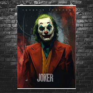 """Постер """"Джокер, рисунок"""". Репродукция. Joker, Хоакин Феникс. Размер 60x43см (A2). Глянцевая бумага"""