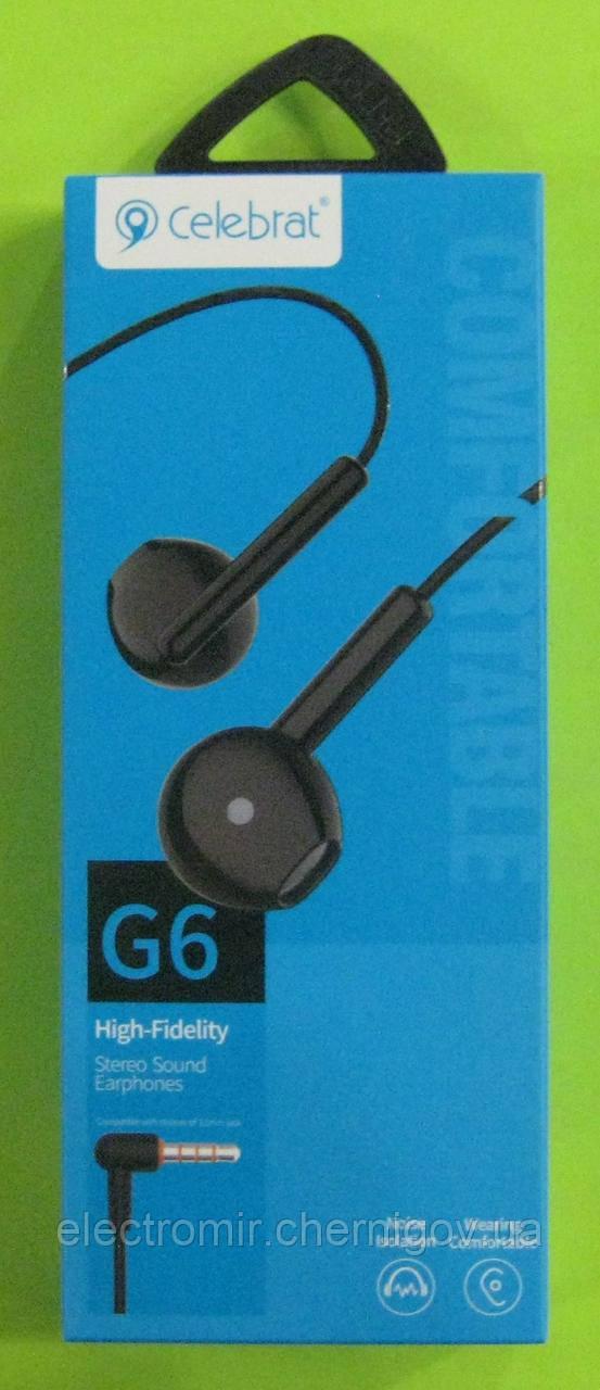 Наушники вакуумные Celebrat G6 (чёрные)