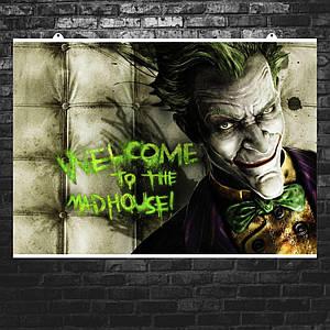 """Постер """"Джокер из Batman Arkham, на фоне стены"""", Joker. Размер 60x43см (A2). Глянцевая бумага"""