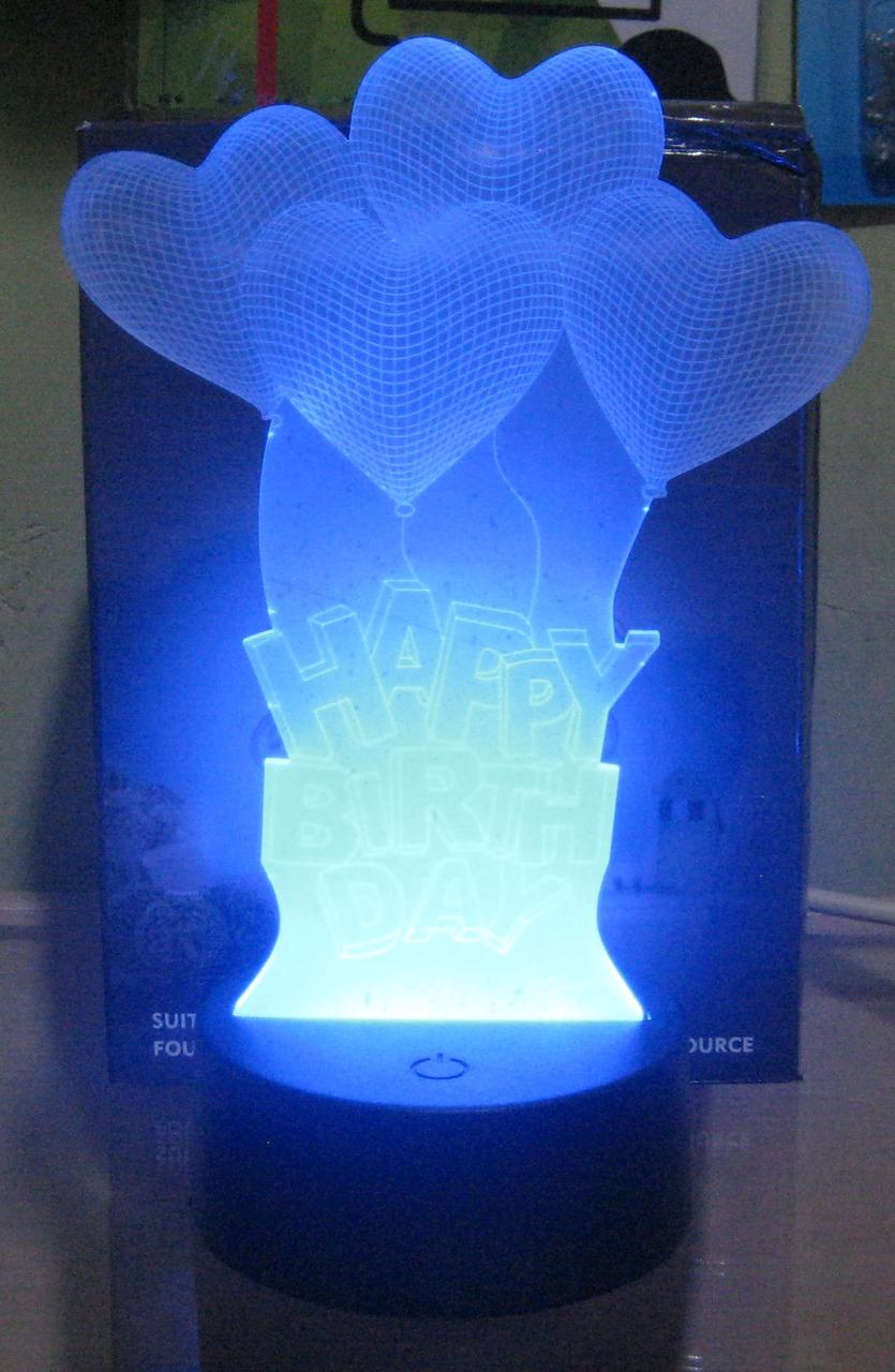 Оригинальный 3D светильник (Happy Birthday)