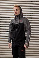 Мужской Спортивный костюм Puma черно-серый, чоловічий спортивний костюм
