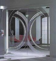 Стеклянная маятниковая двустворчатая дверь с рисунком