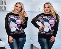Стильная женская кофта с рисунком девушки. Вязка+микродайвинг.  Размер 46-50 батал. DG  98.3