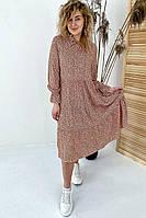 Необычное платье миди с флористическим узором  VOOL Style - св-коричн цвет, M (есть размеры), фото 1